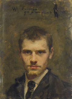 EMILE FRIANT (1863-1932) Self-Portrait, 1880 oil on board 18.3 x 13.2 cm.