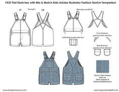 Kids Illustrator Flat Fashion Sketch Templates #overalls - 850+ mix & match templates only $24.95! #kidswear #childrenswear #flatsketches #fashionflats #fashionsketches #fashiontemplates #fashionCADs