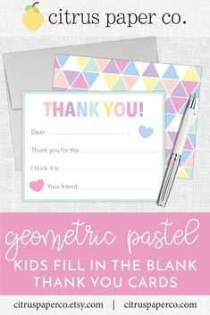 These fill-in-the-blank thank you notes are perfect for teaching your little one to write a thank you card!