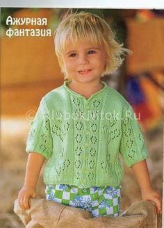 Салатовый жакет ажур | Вязание для девочек | Вязание спицами и крючком. Схемы вязания.