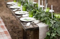 A rustic table setting with greenery down the center of the table. Wedding Themes, Wedding Vendors, Wedding Ideas, Diy Wedding, Wedding Reception, Party Themes, Wedding Inspiration, Party Ideas, Weddings