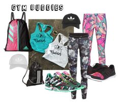 """""""GYM BUDDIES"""" by yeshorra1 ❤ liked on Polyvore featuring adidas Originals, adidas, Mary Katrantzou, Topshop, fitness, workout and gym"""