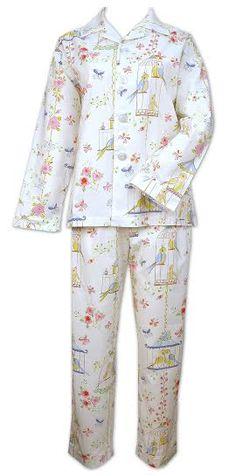 "The Cat's Pajamas ""Lovebirds"" Cotton Pajama Set in White $86 - SHOP http://www.thepajamacompany.com/store/18694.html?category_id=11008"