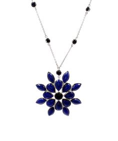 Savvy Cie Lapis Lazuli & Black Spinel Flower Pendant Necklace | zulily  . $99.99 $375.00      Product Description:  Elevate your ensemble with sophisticated elegance wearing this pendant necklace adorned with sparkling gems set in gleaming sterling silver.      Includes chain and pendant     Chain: 18'' L     Pendant: 40 mm W x 2'' H     Lobster claw clasp     Sterling silver / black spinel / lapis lazuli     Carat: 10.00 tw lapis lazuli     Imported
