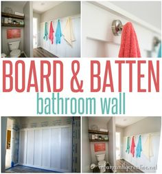 Board & Batten Bathroom Wall with Towel Hooks ~ This is a great way to add dimension and storage to a long wall in a bathroom!
