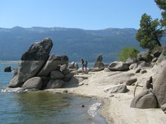 """These rocks were a """"hang-out"""" and swim/jump off place in the summer months.......Cascade Lake, Idaho"""