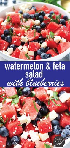 Watermelon Feta Salad with Blueberries and Mint! This refreshing watermelon feta salad is perfect for hot summer days and for your July weekend cookout. It is super easy and comes together in no time Summer Salad Recipes, Summer Salads, Recipes With Fruit, Summer Fruit, Greek Recipes, Vegetarian Recipes, Cooking Recipes, Healthy Recipes, Delicious Salad Recipes