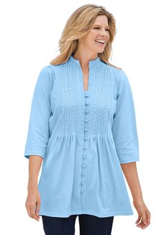 Tunic top in knit is pleated, pintucked, embroidered | Plus Size 3/4 sleeve | Woman Within