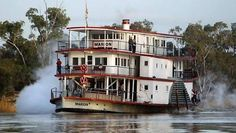 'Marion' paddle steamer on the Murray River, Victoria. Western Australia, Australia Travel, Murray River, Steam Boats, Australian Continent, Down The River, Boat Art, Paddle Boat, Old Boats