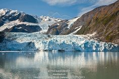 Photo of Scenic view of Stairway glacier (r) flowing into Surprise Glacier from Chugach Mountains and then into Surprise Inlet in Harriman F...