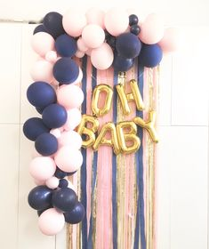 OH BABY Kit in Matte Navy and Matte Chalk Light Pink Balloons and gold, pink and navy backdrop Set Gender Reveal Party Girl Boy OH BABY! This set includes: OH BABY letter balloons in Tall size ( Gender Reveal Balloons, Gender Reveal Decorations, Baby Gender Reveal Party, Gender Party, Pink Decorations, Gender Reveal Party Supplies, Silver Letter Balloons, Pink Balloons, Latex Balloons