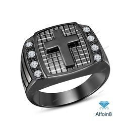 0.48 CT 925 Silver Round Cut D/VVS1 Diamond Christian Religious Men's Cross Ring #Affoin8 #MensReligiousCrossRing