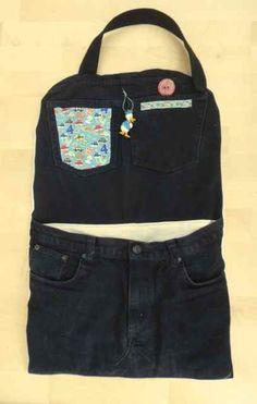 Autositz-Spieltasche aus alten Jeans und Karton