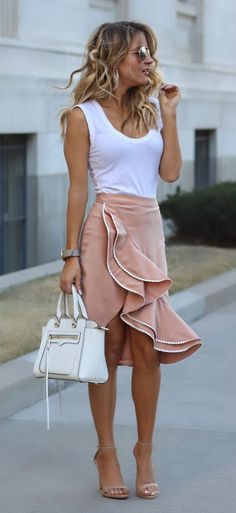 White Top & White Leather Tote Bag & Pink Ruffle Skirt