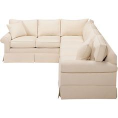 Ethan Allen Bennett Roll-Arm Skirted Sectional (5,940 CAD) ❤ liked on Polyvore featuring home, furniture, sofas, ethan allen, ethan allen couches, ethan allen sofas and ethan allen furniture