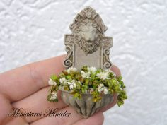 Miniature Dollhouse Old Wall Sink Planted With Flowers
