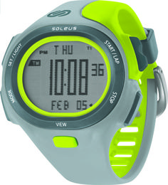 Soleus Running Watch - P.R. - Track Gray / Volt Green