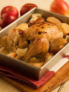 Chef Michael Smith's Apple Roast Chicken. Works well with a few small potatoes. I want to try it with a few parsnips thrown in next time.