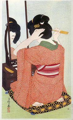 Reflection in Mirror  by Hakuho Hirano, 1932  (published by Watanabe Shozaburo)