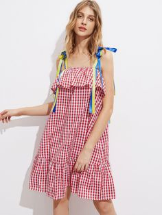 Shop Self Tie Ribbon Strap Tiered Hem Frill Gingham Dress online. SheIn offers Self Tie Ribbon Strap Tiered Hem Frill Gingham Dress & more to fit your fashionable needs.