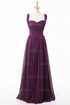Purple Sweetheart Chiffon Long Bridesmaid Dress US $109.00