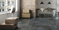Above is a roomset image of Nature, this slate effect porcelain floor has a slip resistant texture making this tile ideal for indoor and outdoor use