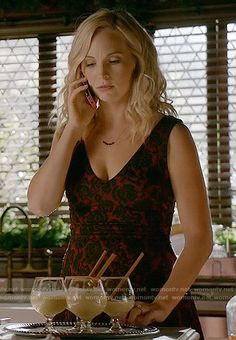 Caroline's red and black floral Christmas dress on The Vampire Diaries.  Outfit Details: https://wornontv.net/63311/ #TheVampireDiaries