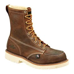 """Thorogood Men's Brown 8"""" Moc Steel Safety Toe Work Boots, 804-4378 #THOROGOOD #WorkSafety"""