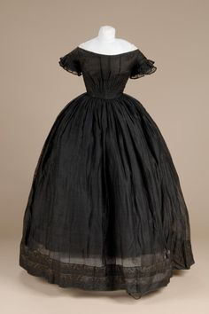 Black silk & wool sheer (barege?) Possibly, but not necessarily mourning.