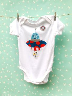 Space Ship Boys Baby Onesie Playsuit Jumpsuit
