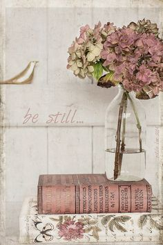 still life with hydrangeas and books by odile lm