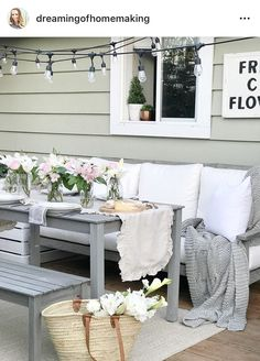 Tiny Home Interior Outdoor Rooms, Outdoor Living, Outdoor Furniture Sets, Outdoor Tables, Pottery Barn Shelves, String Lights Outdoor, Girl Decor, Home Interior, Interior Colors