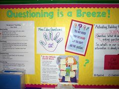 Questioning bulletin board and website with comprehension strategies Teaching Tips, Teaching Reading, Guided Reading, Learning, Teaching Language Arts, Speech And Language, Reciprocal Reading, School Tool, School Stuff