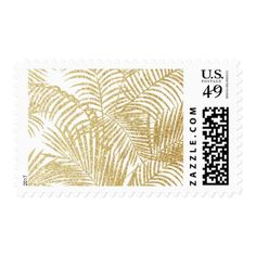 Modern simple white faux gold glitter palm tree postage