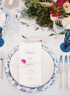 Pretty blue Grecian table decor: http://www.stylemepretty.com/destination-weddings/2016/03/29/romantic-mykonos-inspiration-shoot-in-shades-of-blue-white/ | Photography: Les Anagnou - http://lesanagnou.com/