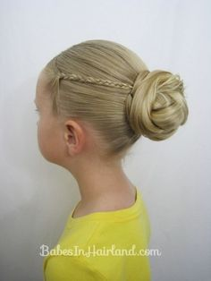 Knotted Bun with Micro-Braids | 37 Creative Hairstyle Ideas For Little Girls. Gracie choose this one 8/23/13 We just did a simple bread at the end instead of the knoted look & then I put in a bun