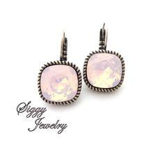 Swarovski crystal cushion cut earrings Rose water by SiggyJewelry