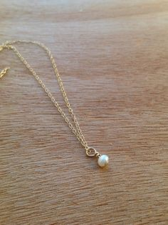 Tiny Pearl Gold Filled Necklace Dainty Pearl by simpleandgold
