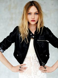 Free People Paisley Roll Cropped Vegan Leather Jacket at Free People Clothing Boutique