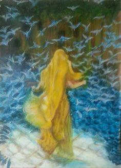 لوحة سيدة الطيور . من اعمالي.رسم بالمائي. 2015.