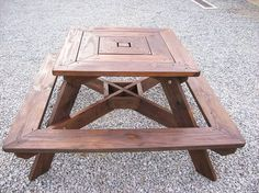 """Square picnic table 4 sided, Adult table. Approx 60"""" x 60 """" at widest point. Height is 32"""" table top and 17 """" seat top. The Top measures 3 feet x 3 feet square. . Made to accomodate four adults very comfortably.This table is already stained and water sealed. If you want a table to last for the next 15 years with minimal care,this is it. All pressure treated wood. Seats are 2 x 8. Top and frame is 2 x 6. All assembled with deck screws and bolts."""