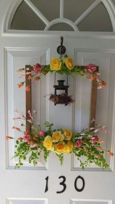 60 Favorite Spring Wreaths for Front Door Design Ideas And Decor p 60 Favorite Spring Wreaths for Front Door Design Ideas And Decor 28 LivingMarch p Front Door Design, Front Door Decor, Front Doors, Wreath Crafts, Diy Wreath, Decor Crafts, Diy Crafts, Picture Frame Wreath, Spring Front Door Wreaths