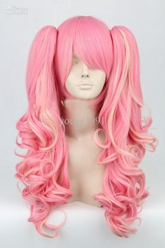 Lolita Long Curly Fashion Pink Women Anime Party Halloween Wig Cosplay Hair