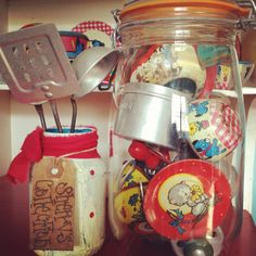 vintage toy tin tea cups with pots and pans