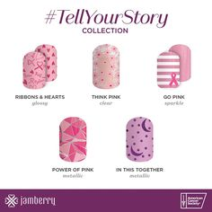 So excited for the #tellyourstory collection by Jamberry! Show your support in October for breast cancer awareness! Plus you'll be doing some good as $2 will be donated to the American cancer society for each wrap purchased!