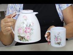 FAÇA VOCE MESMO!!! - Decoupage na garrafa Térmica - Artesanato - YouTube Decoupage Vintage, Decopage, Kettle, Diy For Kids, Make It Yourself, Mugs, Tableware, Crafts, Youtube