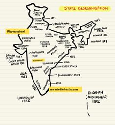 Reorganisation of states. Caution- there are some errors. Geography Map, Geography Lessons, Teaching Geography, World Geography, Biology Lessons, Ancient Indian History, History Of India, Upsc Notes, Study Notes