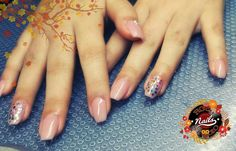 Gel nails extensions nude with confetti