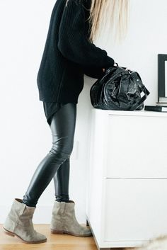 Like the Leather leggings w/ the comfy Sweater great combo.