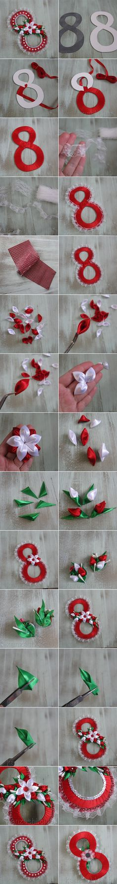 Восьмерка #канзаши на магните к празднику #8марта #kanzashi Christmas Diy, Christmas Wreaths, Diy And Crafts, Arts And Crafts, Birthday Cards For Mum, Bracelet Crafts, Cardboard Crafts, Mothers Day Crafts, 8th Of March